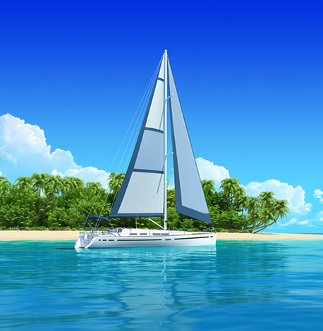 image of sailboat in eastern caribbean water