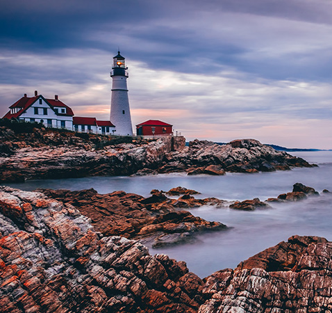 image of lighthouse at Bay of Portland Maine