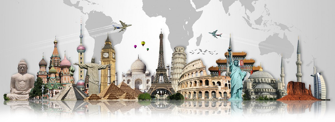 multic-city image of international travel destinations