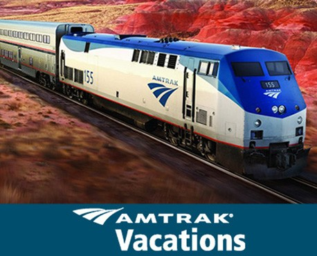 image of amtrak train through the mountains