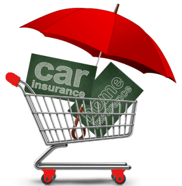 image of shopping cart with umbrella covering slates that read car and home insurance