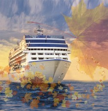 image of the RS Insignia Cruise vessel with fall leaves overlay