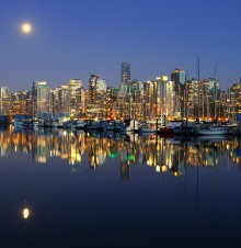 image of canadian city at night