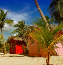 image of huts on tropical beach in Nassau Bahamas